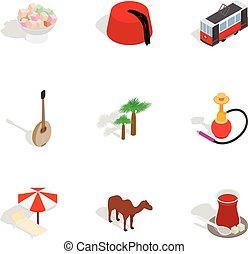 Turkey travel symbols icons set
