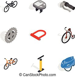 Bike and repair components icons set. Isometric 3d...