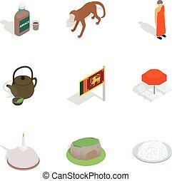 Symbols of Sri Lanka icons set, isometric 3d style