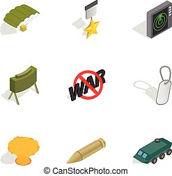 Army weapon icons set, isometric 3d style