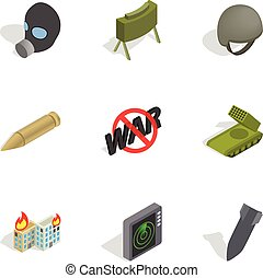 Weapons icons set, isometric 3d style - Weapons icons set....