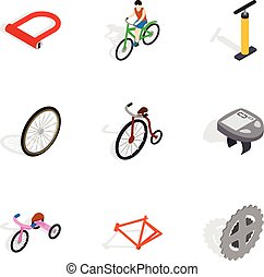 Bicycle icons set, isometric 3d style