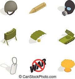 Army icons set, isometric 3d style - Army icons set....