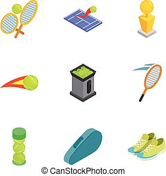 Tennis attributes icons set, isometric 3d style