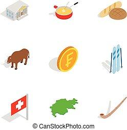 Switzerland icons set, isometric 3d style - Switzerland...