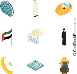 United Arab Emirates elements icons set