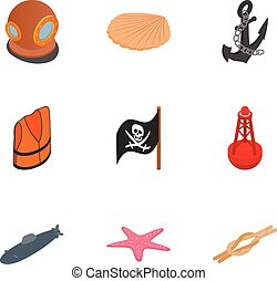Pirate icons set, isometric 3d style