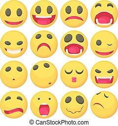 Yellow smiles fun icons set, cartoon style - Yellow smiles...