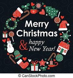 vector christmass greeting card with holiday design...