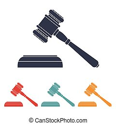 vector set of four colorful court hammer icons. EPS