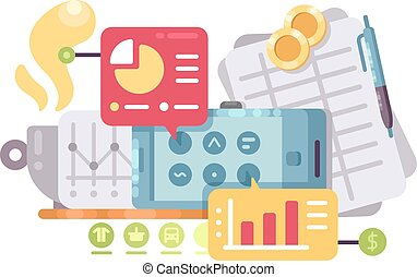Business intelligence and analysis. Statistics graphs and...