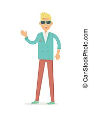 Elegant Rich Blond Man in Sunglasses. Vector - Elegant rich...