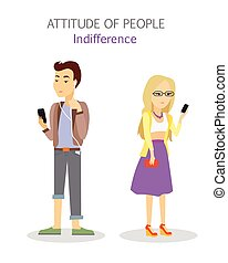 Attitude of People. Indifference. Apathy Teenagers -...