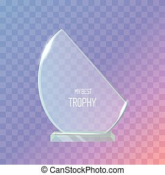 Trophy. Realistic Award. Dark Violet Background.