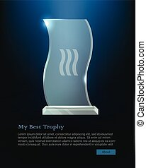 My Best Trophy. Crystalic Award in Waved Shape - Trophy....