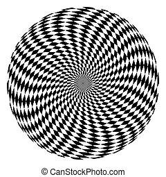 Rotation movement illusion. Circle op art pattern.
