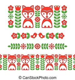 Scandinavian folk art pattern - long stripe, seamless...