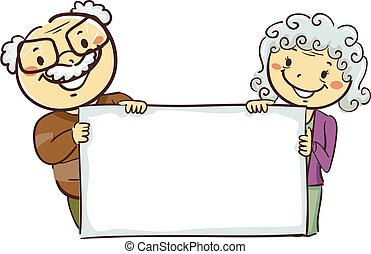 Stick Figures of Grandparents Holding a Blank Board - Vector...