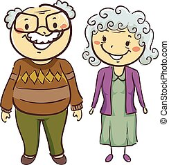 Grandmother and Grandfather - Vector Illustration of...