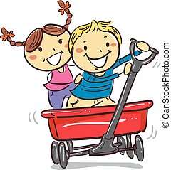 Kids Riding on a Red wagon - Vector Illustration of Kids...