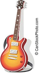 Classic electric guitar with strap