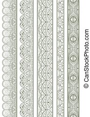 Ornamental Seamless Borders Vector Set for Ethnic Decor -...