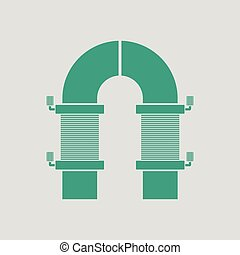Electric magnet icon. Gray background with green. Vector...