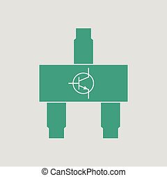 Smd transistor icon. Gray background with green. Vector...