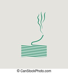 Solder wire icon. Gray background with green. Vector...