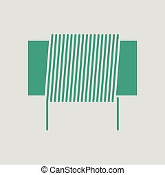 Inductor coil icon. Gray background with green. Vector...