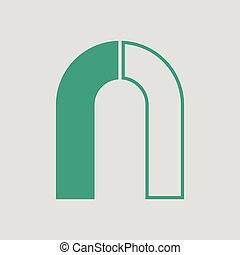 Magnet icon. Gray background with green. Vector...