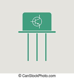 Transistor icon. Gray background with green. Vector...