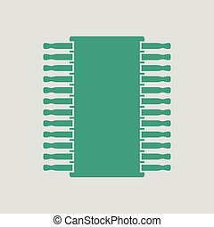 Chip icon. Gray background with green. Vector illustration.