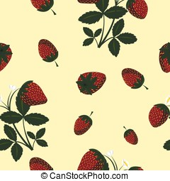Vector seamless pattern with strawberries