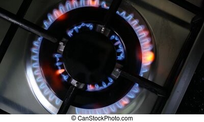 Gas Burner On Stove. Top view.