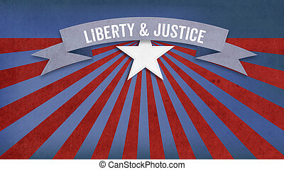 Liberty and Justic for all, US American color scheme -...