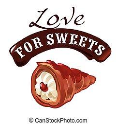 Sweet dessert vector illustration of cream cake