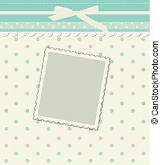 Vintage colorful scrap booking template for kid, child, baby boy, girl photo album. Vector illustration