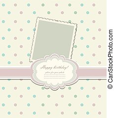 Romantic scrap booking template for invitation, label, postcard frame, photo album