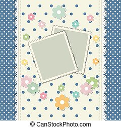 Romantic scrap booking template for invitation, greeting, baby shower card, happy birthday label, postcard frame, photo album. Vector.