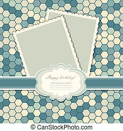 Romantic scrap booking template for invitation, label, postcard frame, photo album. Vector illustration