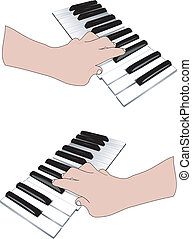 Hand and music keyboards - Two hands playing on the musical...