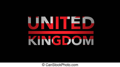 Zooming text United Kingdom with flag - Zooming in on text...