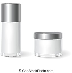 White blank glass cosmetics jar with black lid for cream, butter, skin care. Realistic bottle design packaging template.