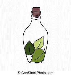vector illustration of a bottle with green leaves inside