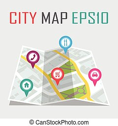 vector illustration of a city map with locations