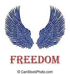 vector pair of bird wings with freedom inscription