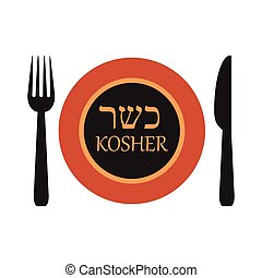 vector illustration of kosher plate label with fork and knife