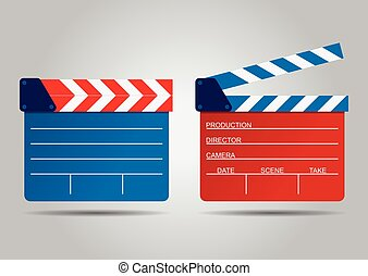 vector illustration of two film clappers isolated on white
