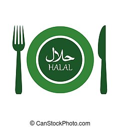 vector illustration of halal plate label with fork and...